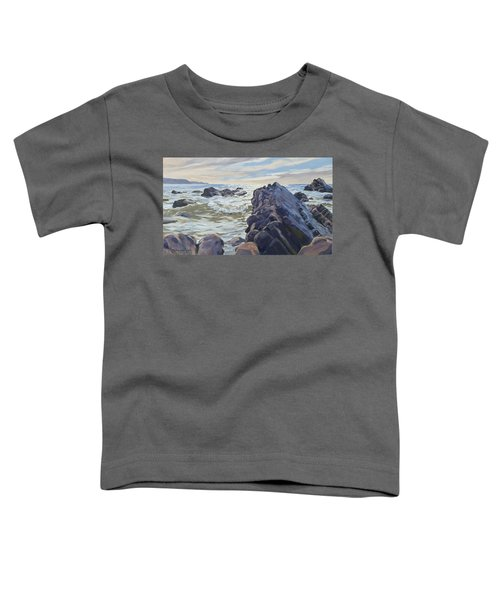 Toddler T-Shirt featuring the painting Rocks At Widemouth Bay, Cornwall by Lawrence Dyer