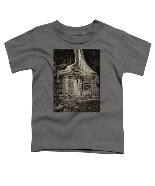 Toddler T-Shirt featuring the photograph Roots In Ruins 5, Ta Prohm, 2014 by Hitendra SINKAR