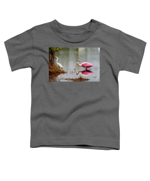Roseate Spoonbill Eating In Southern Florida Toddler T-Shirt