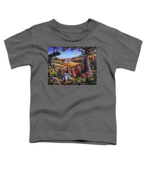 Rural Country Farm Life Landscape Folk Art Raccoon Squirrel Rustic Americana Scene  Toddler T-Shirt by Walt Curlee