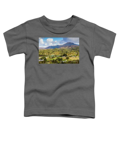 Rural Landscape With Mountains And Valley Village Toddler T-Shirt