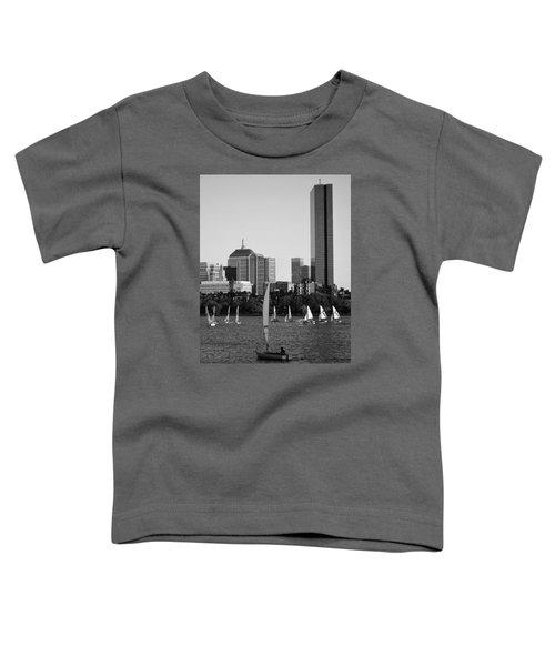 Sailing The Charles River Boston Ma Black And White Toddler T-Shirt