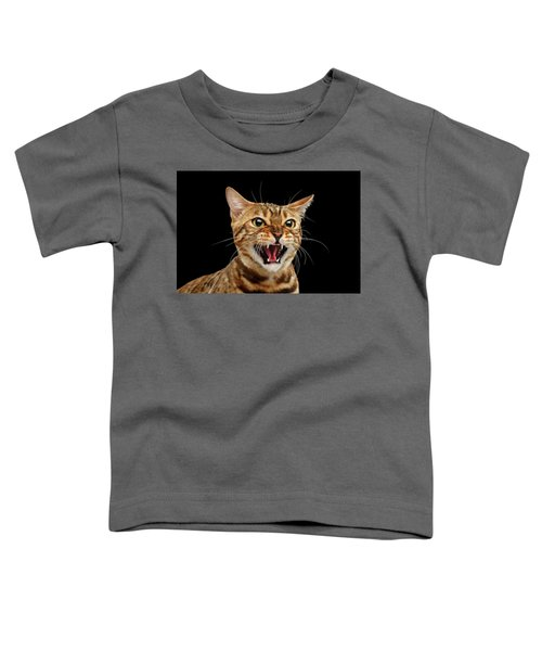 Scary Hissing Bengal Cat On Black Background Toddler T-Shirt