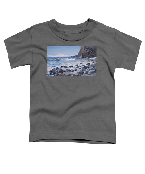 Toddler T-Shirt featuring the painting Sea Pounded Stones At Crackington Haven by Lawrence Dyer
