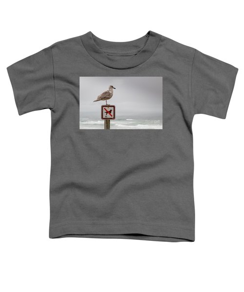 Seagull Standing On Sign And Looking At The Ocean Toddler T-Shirt