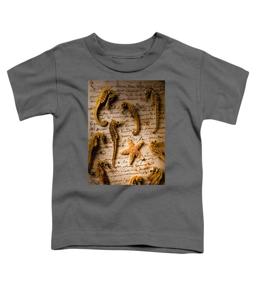 Seahorses And Starfish On Old Letter Toddler T-Shirt