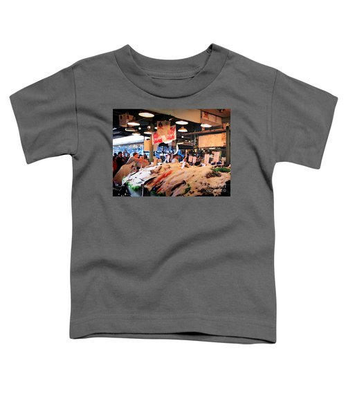 Toddler T-Shirt featuring the photograph Seattle Fish Throw Pike St Market by Peter Simmons