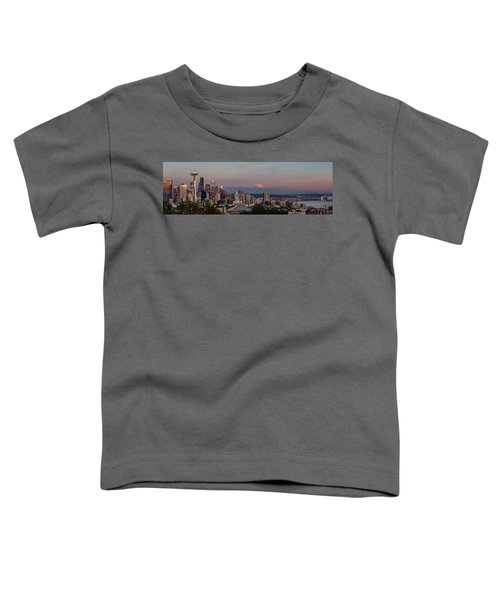 Toddler T-Shirt featuring the photograph Seattle Skyline And Mt. Rainier Panoramic Hd by Adam Romanowicz