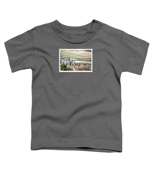 Seattle Skyline In Fog And Rain Toddler T-Shirt by Elaine Plesser