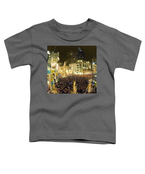 Toddler T-Shirt featuring the photograph Seattle Westlake Tree Lighting by Peter Simmons