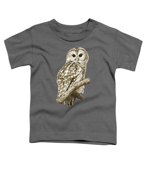 Sepia Owl Toddler T-Shirt by Christina Rollo