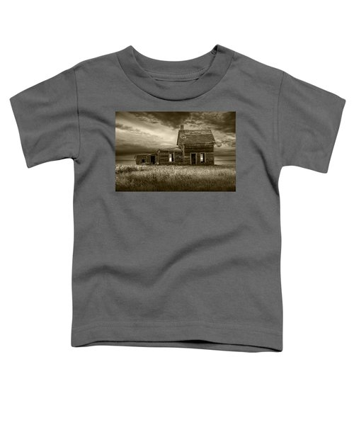 Sepia Tone Of Abandoned Prairie Farm House Toddler T-Shirt