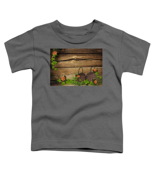 Shabby Chic Flowers In Rustic Basket Toddler T-Shirt