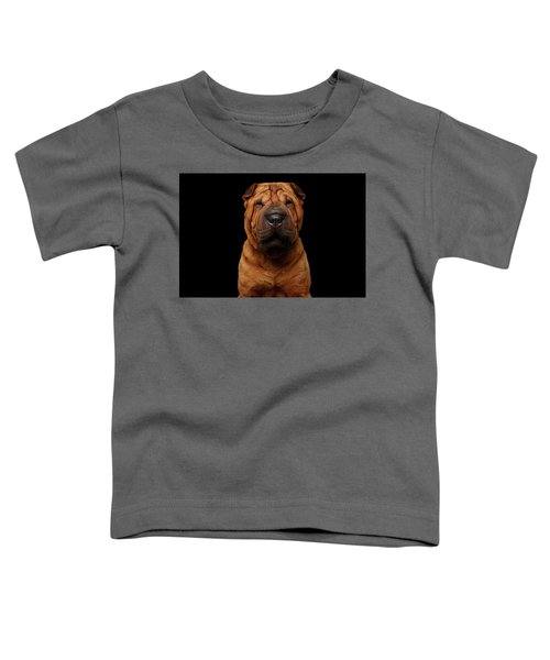 Sharpei Dog Isolated On Black Background Toddler T-Shirt