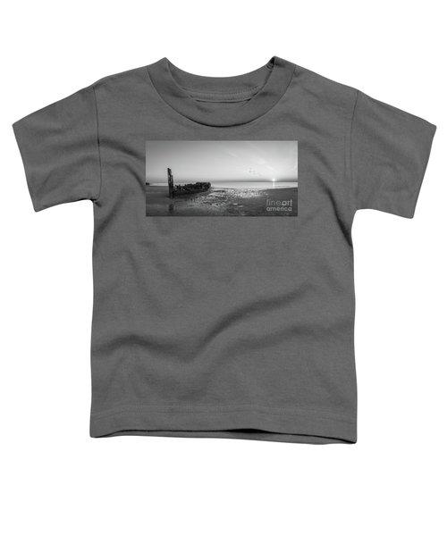 Shipwreck Sunset Panorama Bw Toddler T-Shirt