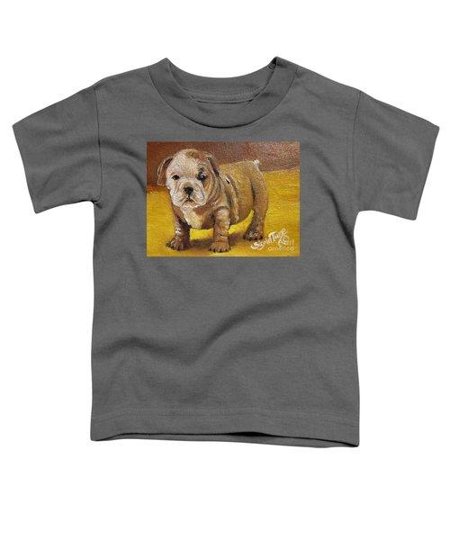 Chloe The   Flying Lamb Productions      Shortstop The English Bulldog Pup Toddler T-Shirt