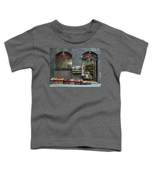 Toddler T-Shirt featuring the photograph Siena Italy Fruit Shop by Mark Czerniec