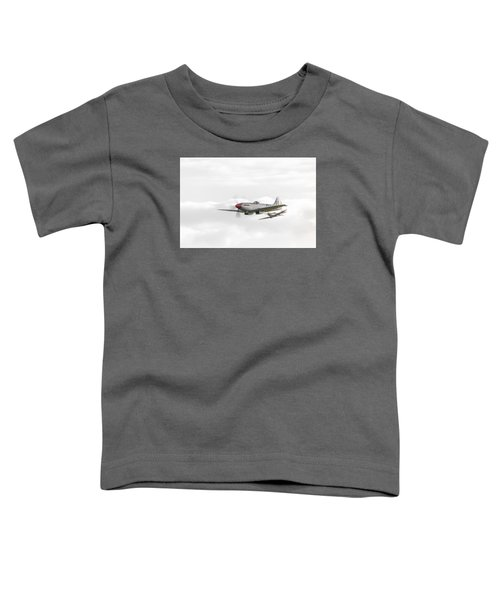 Silver Spitfire In A Cloudy Sky Toddler T-Shirt by Gary Eason