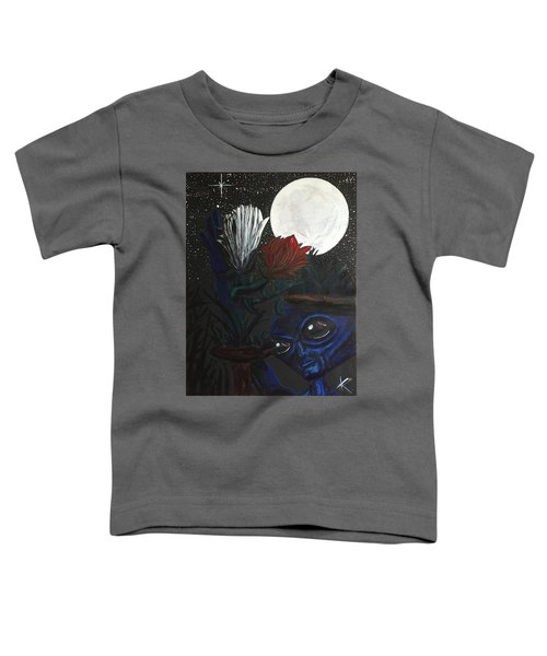 Similar Alien Appreciates Flowers By The Light Of The Full Moon. Toddler T-Shirt