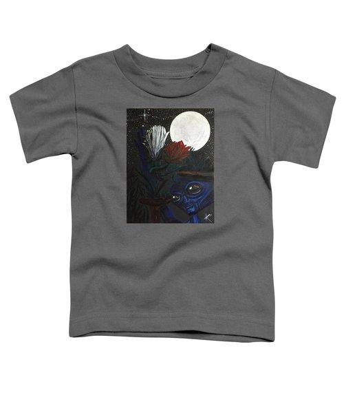 Similar Alien Appreciates Flowers By The Light Of The Full Moon. Toddler T-Shirt