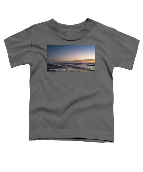 Single Man Walking On Beach With Sunset In The Background Toddler T-Shirt