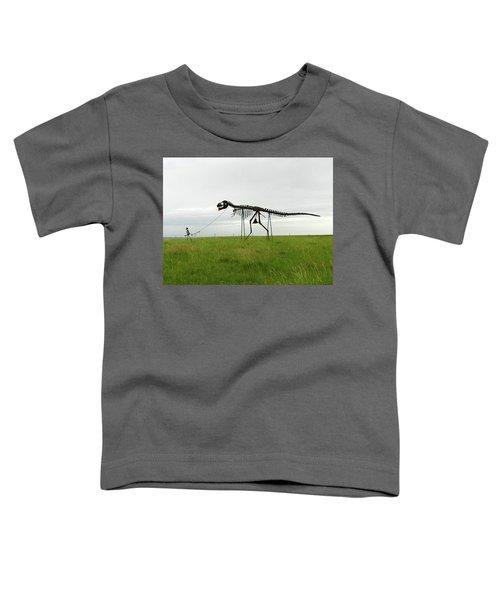 Skeletal Man Walking His Dinosaur Statue Toddler T-Shirt