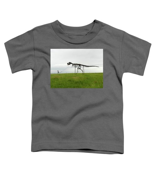 Skeletal Man Walking His Dinosaur Statue Toddler T-Shirt
