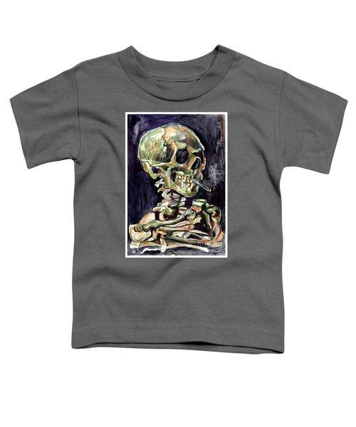 Skull Of A Skeleton With Burning Cigarette Toddler T-Shirt