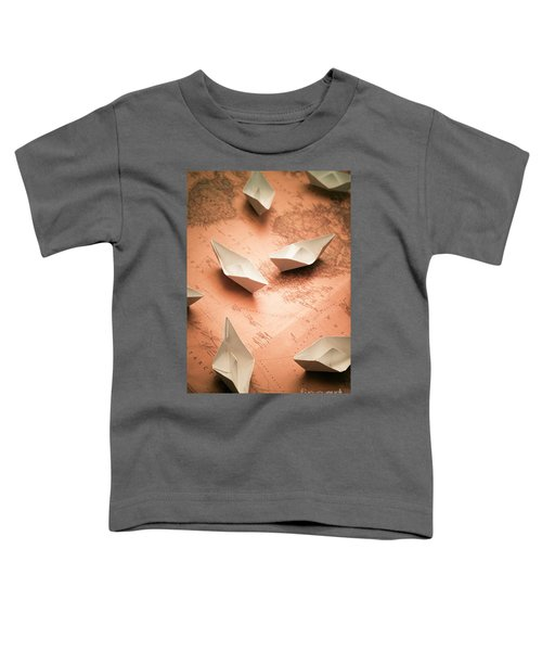 Small Paper Boats On Top Of Old Map Toddler T-Shirt