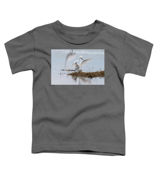 Snowy Egret Chasing His Dinner Toddler T-Shirt