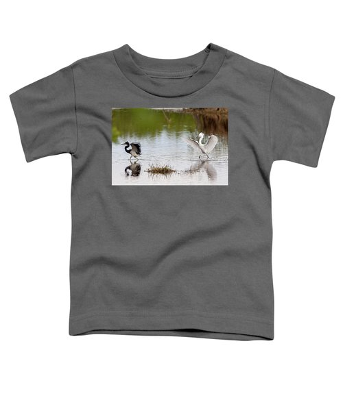 Snowy Egret Chasing Other Bird Out Of Feeding Area Toddler T-Shirt