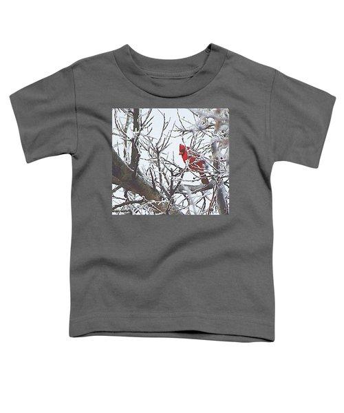 Snowy Red Bird A Cardinal In Winter Toddler T-Shirt