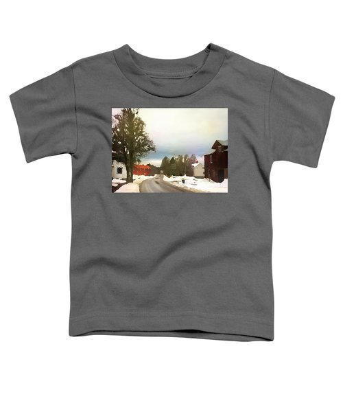 Snowy Street With Red House Toddler T-Shirt