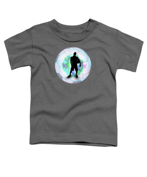 Soccer Player Posing With Ball Soccer Background Toddler T-Shirt by Elaine Plesser