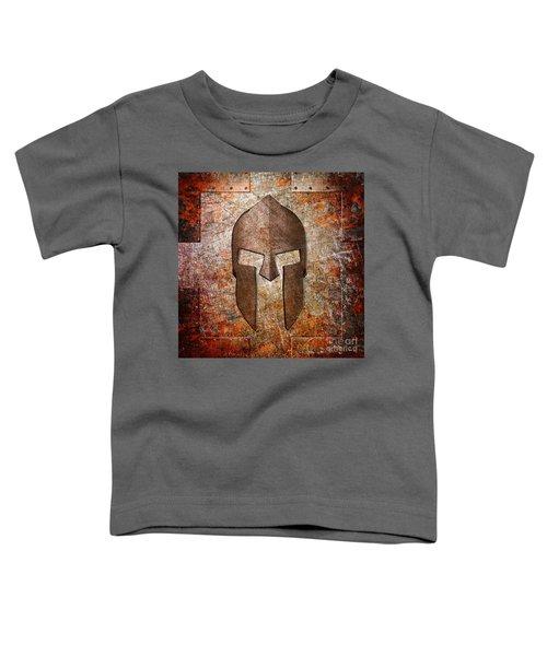 Spartan Helmet On Rusted Riveted Metal Sheet Toddler T-Shirt