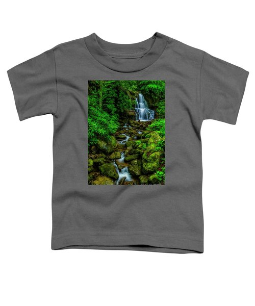 Spring Green Waterfall And Rhododendron Toddler T-Shirt