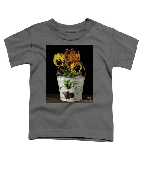 Spring Pansy Flowers In A Pail Toddler T-Shirt