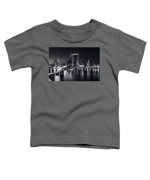 St Johns River Skyline By Night, Jacksonville, Florida In Black And White Toddler T-Shirt