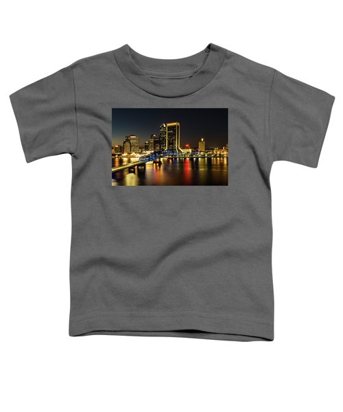 St Johns River Skyline By Night, Jacksonville, Florida Toddler T-Shirt