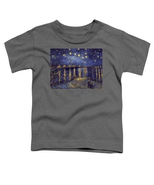 Toddler T-Shirt featuring the painting Starry Night Over The Rhone by Van Gogh