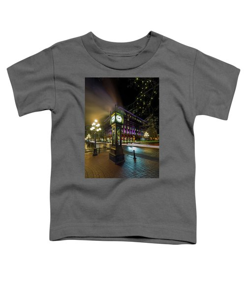 Steam Clock In Gastown Vancouver Bc At Night Toddler T-Shirt