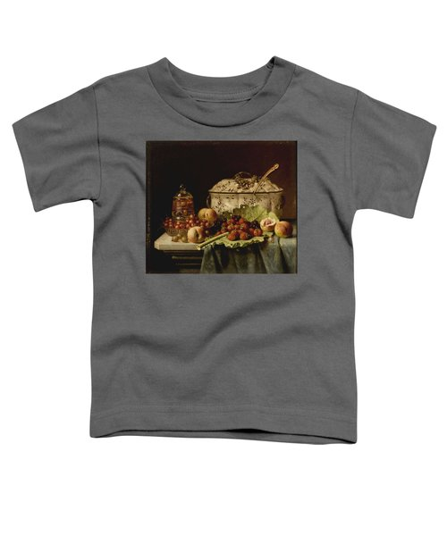 Still Life  Fruit And Dishes  Late 19th Century Oil On Panel Gottfried Schultz  German  1842  1919 Toddler T-Shirt