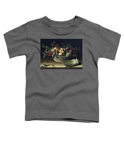 Still Life With A Basket Of Fruit And A Bunch Of Asparagus Toddler T-Shirt by Louise Moillon