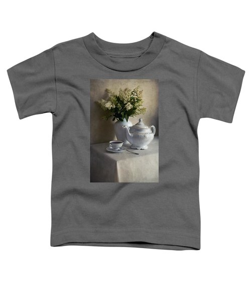 Toddler T-Shirt featuring the photograph Still Life With White Tea Set And Bouquet Of White Flowers by Jaroslaw Blaminsky