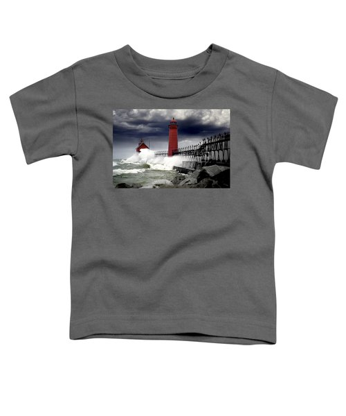 Storm At The Grand Haven Lighthouse Toddler T-Shirt