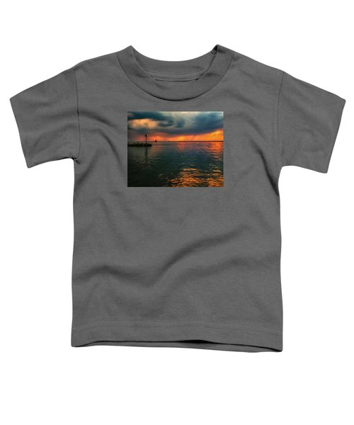 Storm In Lorain Ohio At The Lighthouse Toddler T-Shirt