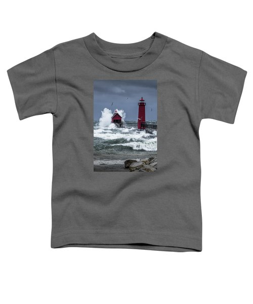 Storm On Lake Michigan By The Grand Haven Lighthouse With Flying Gulls Toddler T-Shirt