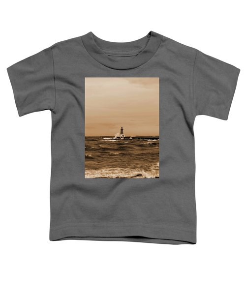 Storm Sandy Effects Menominee Lighthouse Sepia Toddler T-Shirt