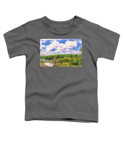 Striking Clouds Above Small Water Inlet And Green Trees Toddler T-Shirt