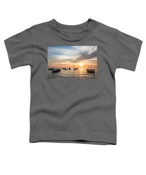 Stunning Sunset Over Wooden Boats In Koh Lanta In Thailand Toddler T-Shirt
